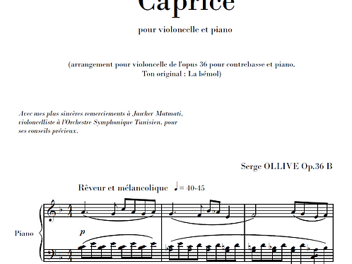 Caprice Op.36b for cello & piano