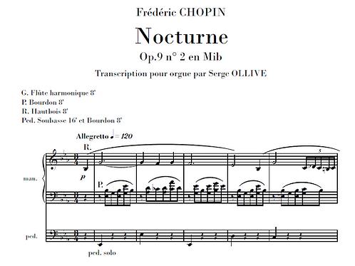 Chopin : 3 nocturnes transcribed for organ
