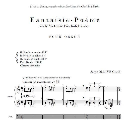 Fantaisie-poème sur le Victimae Paschali Op.45 for organ