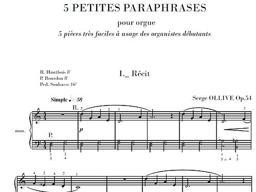 5 Petites paraphrases Op.54 for organ