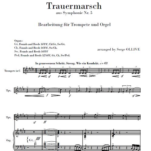 Mahler : Funeral march (transcription for trumpet & organ)