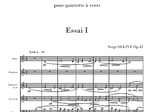 3 Essais immobiles Op.43 for wind quintet