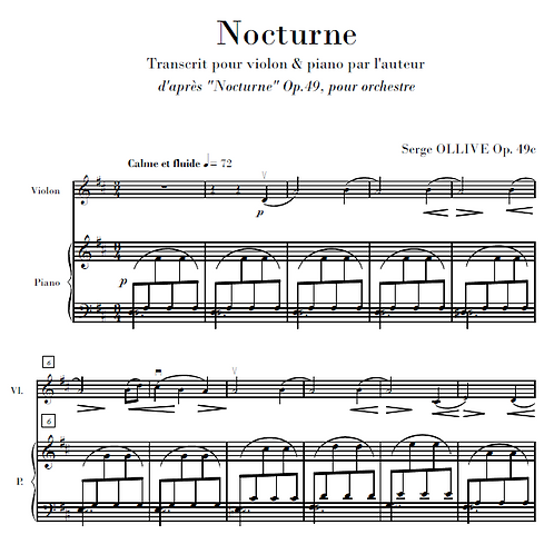 Nocturne Op.49c for violin & piano