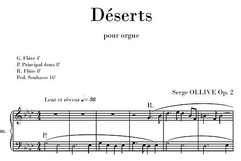 Déserts Op.2 for organ