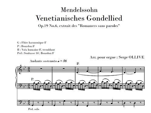Mendelssohn : Venetian boat song (organ transcription)