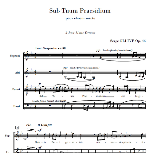 Sub Tuum Praesidium Op.46 for choir