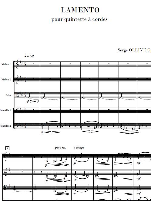 Lamento Op.4 for string quintet