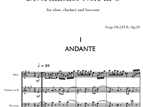 Divertimento n°1 Op.29 for woodwinds