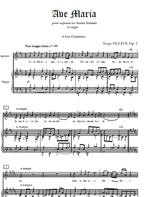 Ave Maria Op.5 for soprano(s) and organ