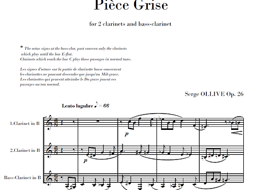 Pièce grise Op.26 for 3 clarinets