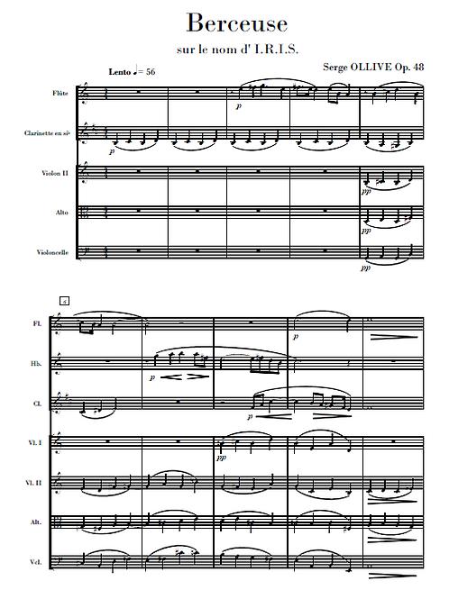 Berceuse sur le nom d'IRIS Op.48 for chamber ensemble