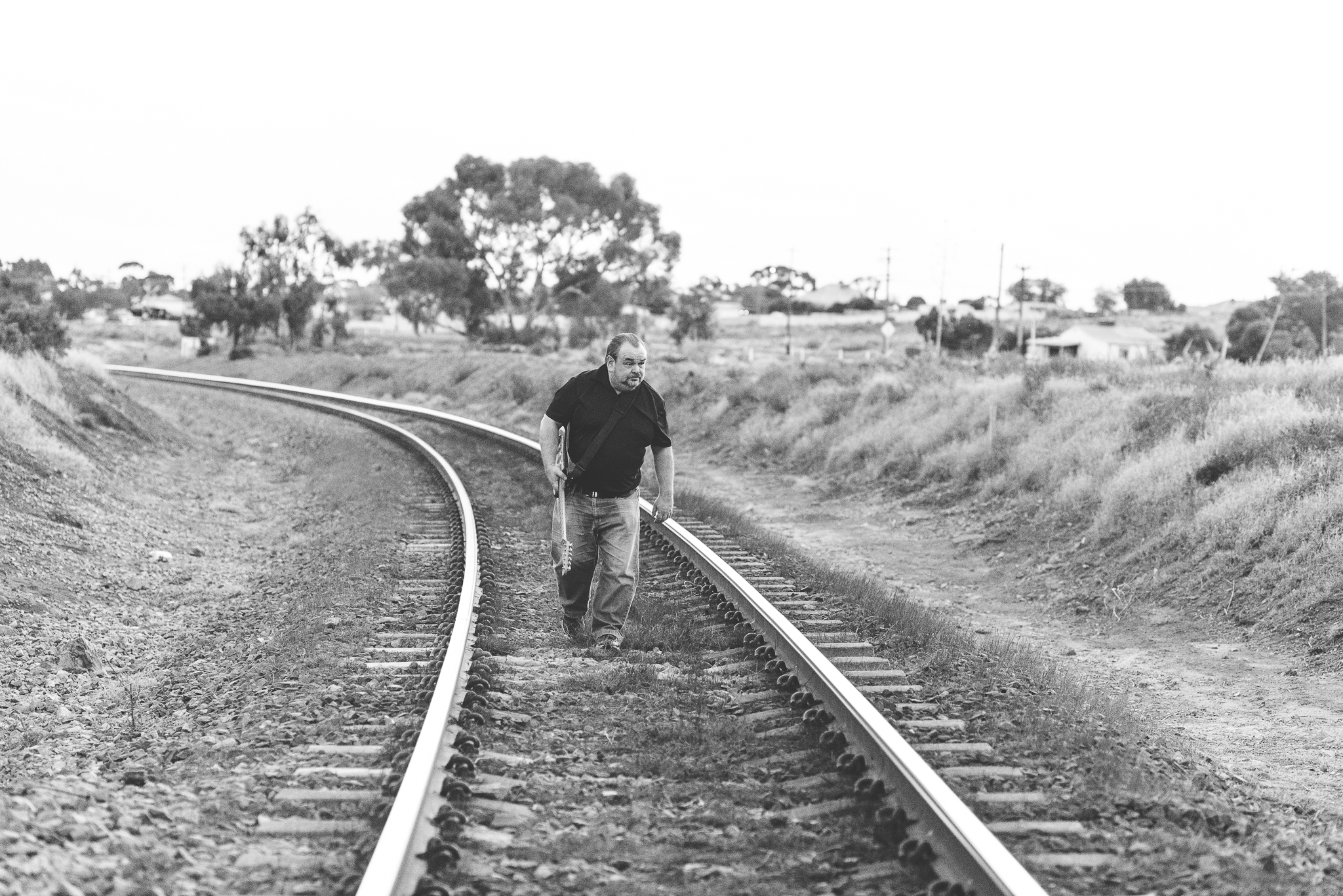 Sullie on the railway tracks.
