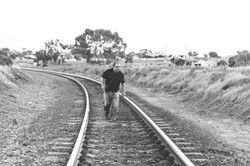 Sullie on the railway tracks.