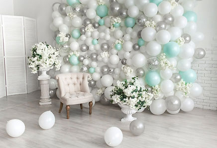 Custom White & Teal Balloon Backdrop!