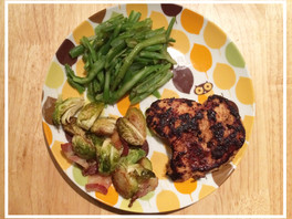 Italian Chicken with Garlic butter Green Beans and Bacon Roasted Brussels Sprouts