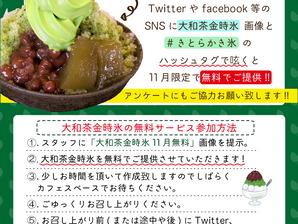 11月限定「大和茶金時氷」無料キャンペーン実施中!