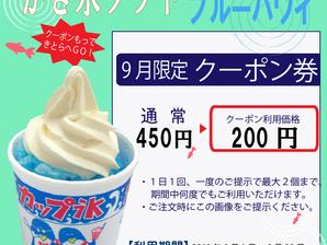 【9月限定クーポン券】ブルーハワイ かき氷ソフト200円!!