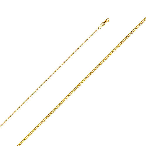 14k Yellow Gold 1.5-mm Flat Wheat Chain Necklace