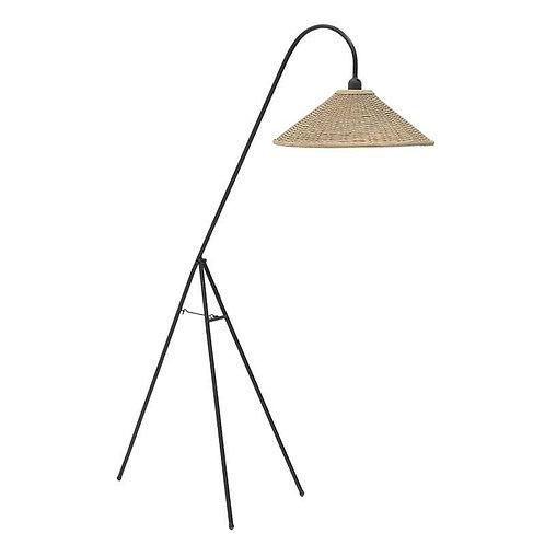 φωτιστικό δαπέδου από μέταλλο και χειροποίητο καπέλο από bamboo