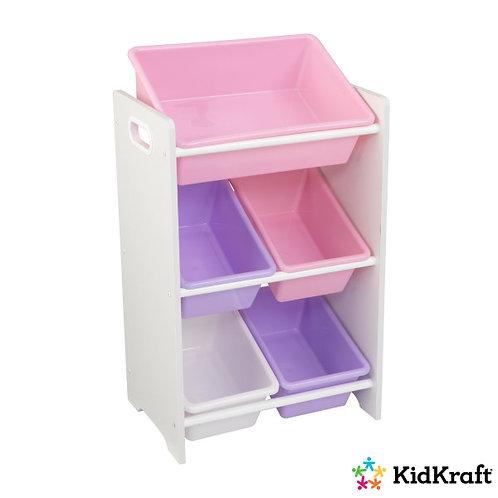 Ράφια-κουτιά αποθήκευσης παιχνιδιών και αντικειμένων για παιδικό δωμάτιο σε παστέλ αποχρώσεις