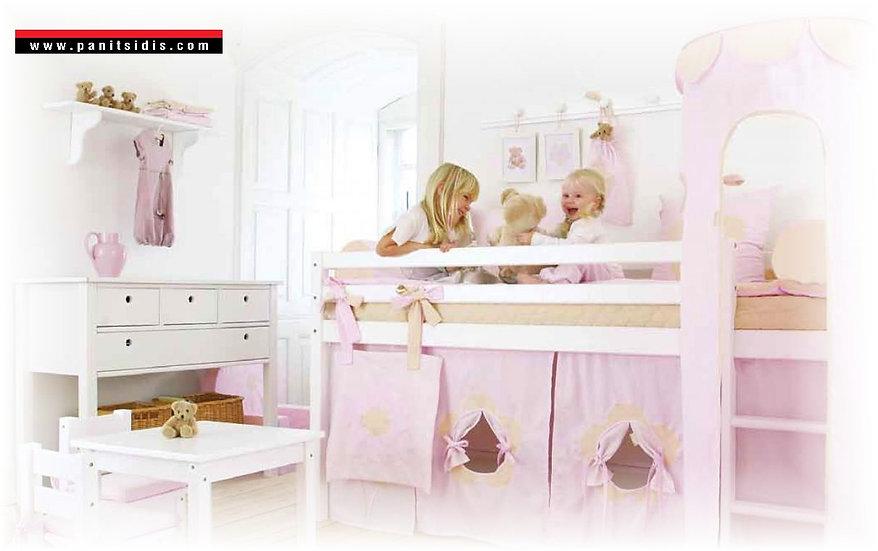 hoppekids bunk bed,μονή κουκέτα με ένα κρεβάτι από μασίφ ξύλο σε λευκή λάκα