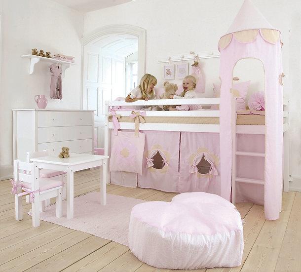 πύργος παιδικής κουκέτας από βαμβακερό ύφασμα σε ροζ χρώμα