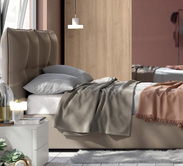 Ντυμένο διπλό Ιταλικό κρεβάτι με αποθηκευτικό χώρο