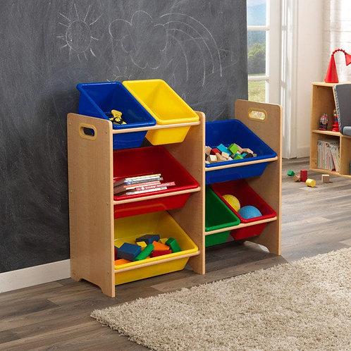 σύστημα με κουτιά και ραφια για αποθήκευση παιχνιδιών, βιβλίων στοπαιδικό δωμάτιο της Kidkraft