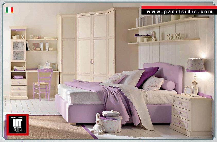 μονό ντυμένο κρεβάτι 90Χ190/200 με 2ο συρόμενο κρεβάτι-μηχανισμό