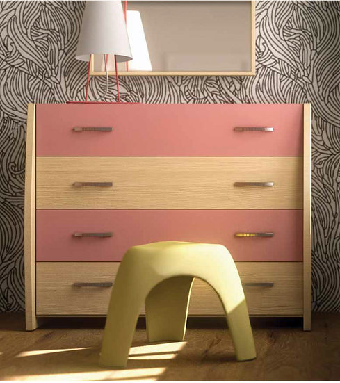 ξύλινη συρταριέρα με 4 συρτάρια παιδική εφηβική