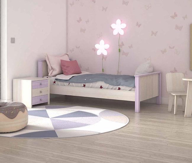 ημίδιπλο ξύλινο κρεβάτι για στρώμα 110Χ200 σε πολλά χρώματα