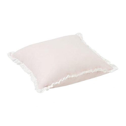 τετράγωνο διακοσμητικό μαξιλάρι σε ροζ και λευκό ύφασμα
