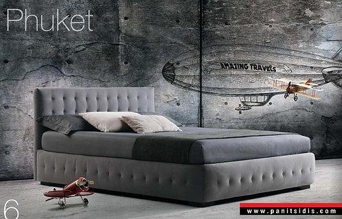 ντυμένο ημίδιπλο 110Χ200εκ., κρεβάτι με κουμπιά και αποθηκευτικό χώρο