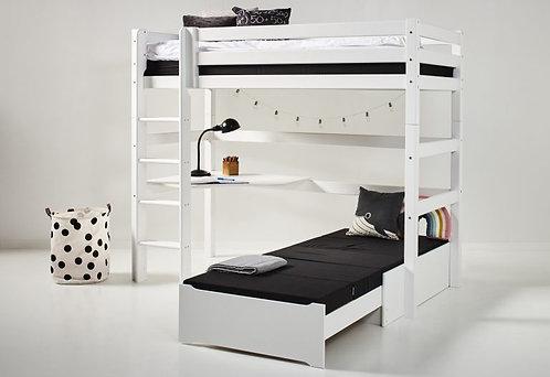 γωνιακή κουκέτα από μασίφ ξύλο σε λευκό χρώμα, για στρώμα 90Χ200 και με 2ο επεκτεινόμενο κρεβάτι
