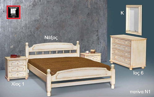 ημίδιπλο κρεβάτι από μασίφ ξύλο σε πατίνα, για στρώμα 110 Χ 190 / 200