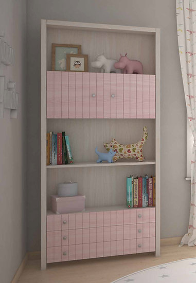 παιδική νεανική βιβλιοθήκη από ξύλο με πόρτες, ράφια και συρτάρια