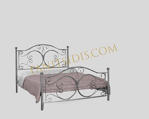 διπλό μεταλλικό-σιδερε΄νιο κρεβάτι για στρώμα 160 Χ 200 σε πολλά χρώματα.Metal bed in various sizes