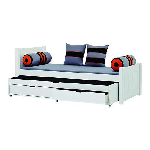 μονό παιδικό-εφηβικό κρεβάτι από μασίφ ξύλο σε λευκή βαφή με 2ο συρόμενο κρεβάτι και 2 συρτάρια