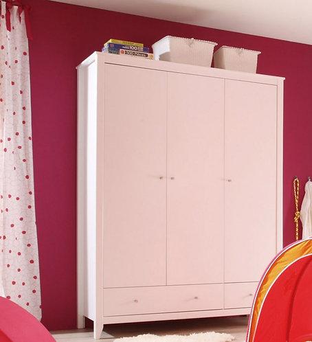 3φυλλη ντουλαπα σε λευκό ξύλο κατάλληλη και για παιδικό δωμάτιο