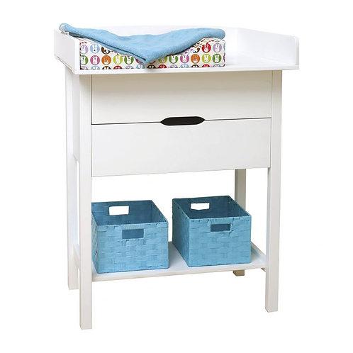 ξύλινη αλλαξιέρα μωρού σε λευκή λάκα πιστοποιημένη με 2 συρτάρια