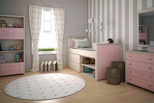 μονό ξύλινο κρεβάτι με 2 συρτάρια και 2 ράφια