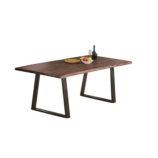τραπέζι από μασιφ ξύλο ακακίας σε καρυδί χρώμα με μεταλλικά πόδια σε μαύρο χρώμα 160Χ90 διάσταση