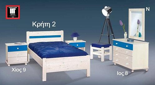 μονό ξύλινο κρεβάτι από ξύλο πεύκου για στρώμα 90 Χ 190/200, για ξενοδοχεία, studios, airbnb