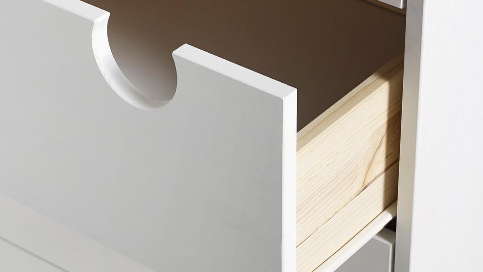ψηλή συρταριέρα από ξύλο με 6 συρτάρια σε 4 συνδυασμούς χρωμάτων