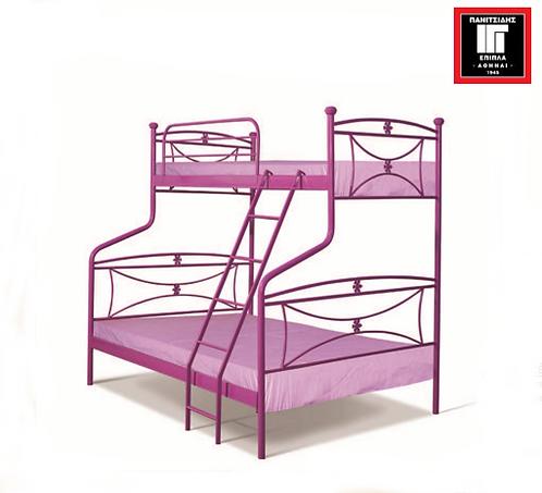 κουκέτα μεταλλική σε πολλά χρώματα με ένα διπλό κρεβάτι 140 Χ 190 και ένα μονό επάνω για στρώμα 90 Χ 190 εκ.