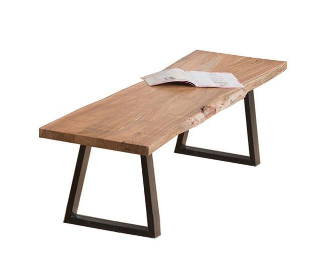 πάγκος-κάθισμα απο μασίφ ξύλο ακακίας και μεταλλικά πόδια σε μαύρο