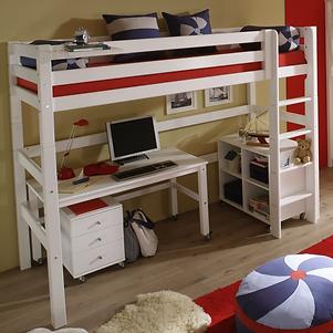 Ψηλή κουκέτα με γραφείο, συρταριέρα και βιβλιοθήκηΠρακτικό παιδικό εφηβικό δωμάτιο..
