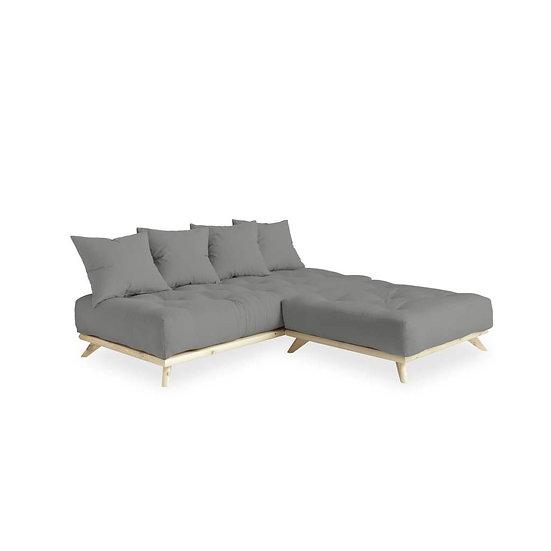γωνιακός καναπές κρεβάτι με στρώμα φουτόν