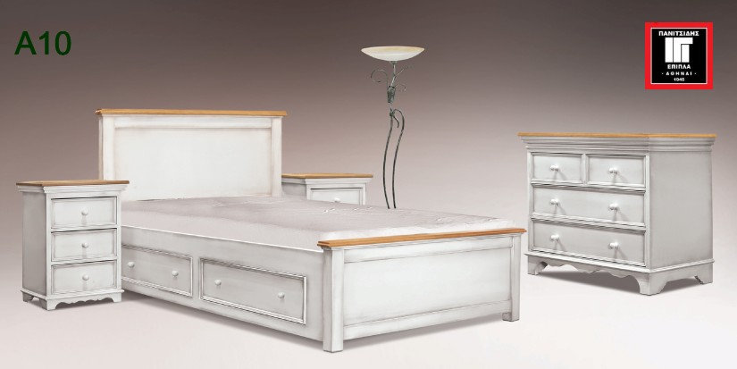 μονό κρεβάτι 90Χ 190 / 200 σε κλασσικό σχέδιο σε χρώμα πατίνας για οικίες για ξενοδοχεία
