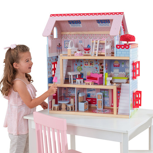 ξύλινο κουκλόσπιτο με 3 ορόφους και έπιπλα kidkraft doll house wooden